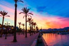 Coucher du soleil de marina de port de Carthagène Murcie en Espagne Photos stock