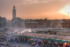Coucher du soleil de Marrakech Images libres de droits