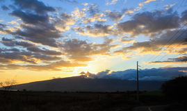 Coucher du soleil de Maui Photographie stock libre de droits