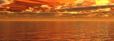 Coucher du soleil de mer Photographie stock libre de droits