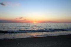 Coucher du soleil de mer, belle scène naturelle 4 Image libre de droits