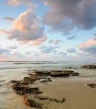 coucher du soleil de mer d'horizontal Photographie stock