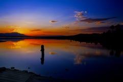 Coucher du soleil de mer de Salton Photos stock
