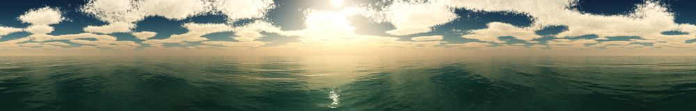 Coucher du soleil de mer Panorama Image libre de droits