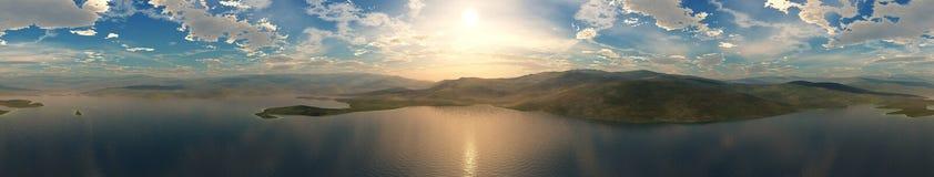 Coucher du soleil de mer Panorama Photographie stock libre de droits