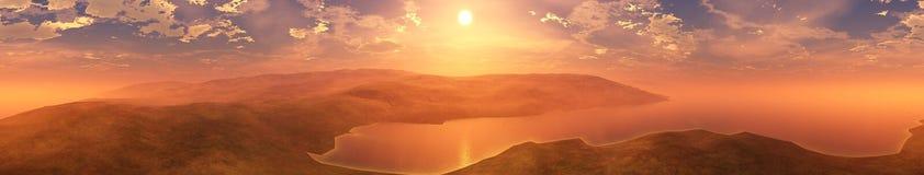 Coucher du soleil de mer Panorama Photographie stock