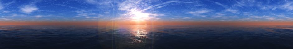 Coucher du soleil de mer Panorama Photos stock