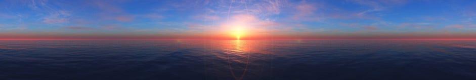 Coucher du soleil de mer Panorama Image stock