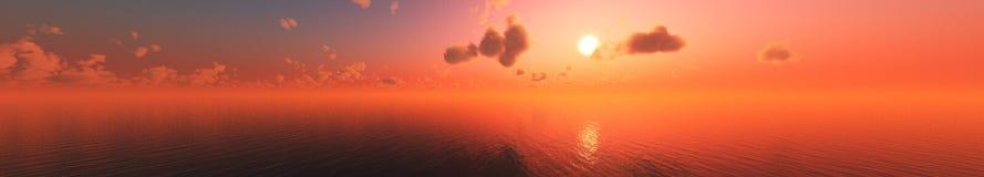 Coucher du soleil de mer Panorama Photo stock