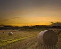 Coucher du soleil de moisson de Bennachie Images stock