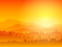 Coucher du soleil de montagne Photographie stock libre de droits