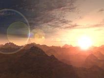 Coucher du soleil de montagne illustration de vecteur