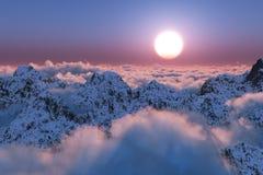 Coucher du soleil de montagne au delà des nuages images libres de droits