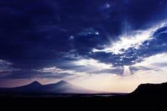Coucher du soleil de montagne d'Ararat Photographie stock