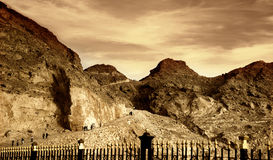 Coucher du soleil de montagne de Jebel Hafeet Images libres de droits
