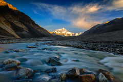 Coucher du soleil de montagne Everest au camp de base d'Everest Photos stock