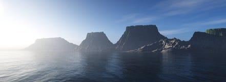 Coucher du soleil de montagne, paysage Images stock