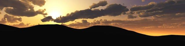 Coucher du soleil de montagne, paysage Photos stock