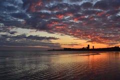 Coucher du soleil de Montevideo Photographie stock