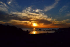 Coucher du soleil de Montevideo Photographie stock libre de droits