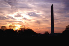 Coucher du soleil de monument de Washington Photographie stock