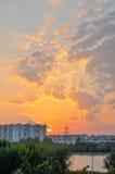 Coucher du soleil de Moscou Photos stock