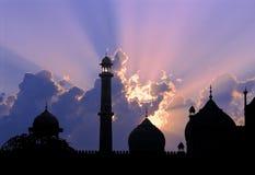 Coucher du soleil de mosquée image libre de droits