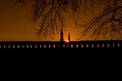 Coucher du soleil de mosquée de Selimiye Images stock