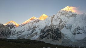 Coucher du soleil de Mt Everest Photographie stock