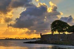Coucher du soleil de mur de San Juan Images stock
