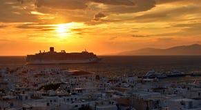 Coucher du soleil de Mykonos Photos libres de droits