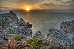 Coucher du soleil de Nati de cap Photos stock