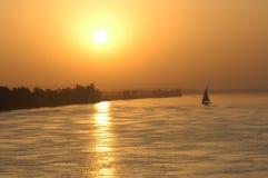 Coucher du soleil de navigation Photo libre de droits