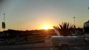 Coucher du soleil de Nelspruit au-dessus de la ville images libres de droits