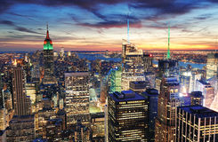 Coucher du soleil de New York City Images libres de droits