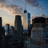 Coucher du soleil de New York City Image libre de droits