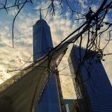 Coucher du soleil de New York City Photographie stock