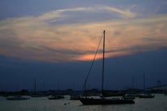 Coucher du soleil de Newport Photographie stock