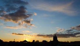 Coucher du soleil de Norwich Images libres de droits