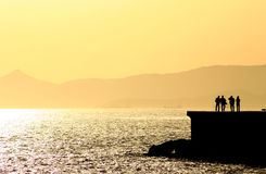 Coucher du soleil de observation à Athènes Photos stock