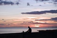 Coucher du soleil de observation photo libre de droits