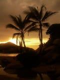 Coucher du soleil de observation de plage de personnes Photos libres de droits