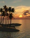 Coucher du soleil de palmiers Photos stock