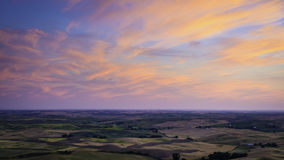 Coucher du soleil de Palouse Photo stock