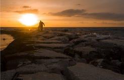 Coucher du soleil de Paphos Photo libre de droits