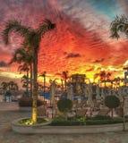 Coucher du soleil de Paphos image stock
