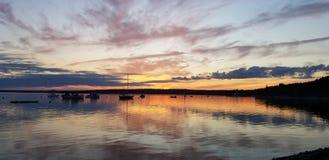 Coucher du soleil de parc d'état de Maine sur l'océan photo stock