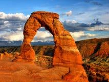 Coucher du soleil de parc national de voûtes, Utah images stock