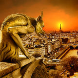 coucher du soleil de Paris Images libres de droits