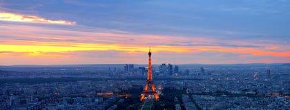coucher du soleil de Paris Image stock